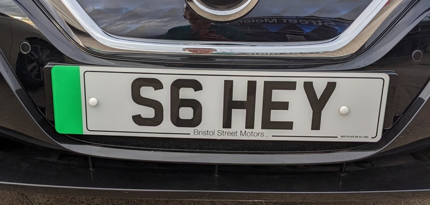 Electric green number plate
